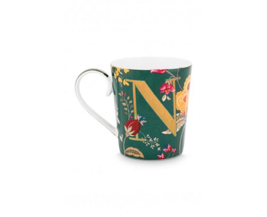"Kubek porcelanowy Floral Fantasy Green ""N"""
