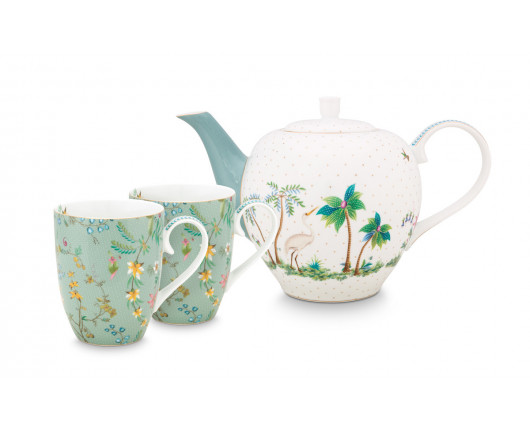 Duży zestaw do herbaty Jolie Flowers Blue set/3