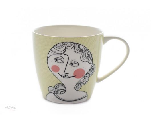 Kubek porcelanowy z buźką zolty Sandra Isaksson