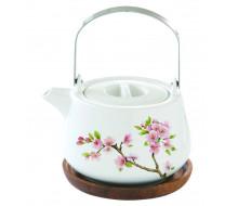 Dzbanek do herbaty z drewnianą podstawką Sakura