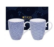 Kubki porcelanowe Wave & Raindrop Blue 2 sztuki