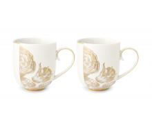 Zestaw kubków porcelanowych Royal White Golden Flower 325 ml  w ozdobnym opakowaniu