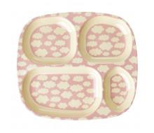 Talerz z przegródkami w chmurki różowy