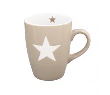 Kubek ceramiczny Star z gwiazdką jasnobrązowy