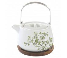 Dzbanek do herbaty z drewnianą podstawką Natura