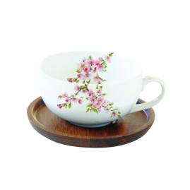 Filiżanka z drewnianą podstawką Sakura