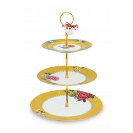 Patera 3- poziomowa Blushing Birds Yellow