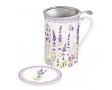 Kubek porcelanowy z zaparzaczem Lavender Field