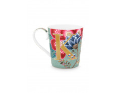 """Kubek porcelanowy Floral Fantasy Light Blue """"K"""""""