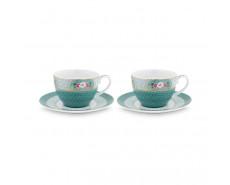 Zestaw 2 filiżanek do kawy Blushing Birds Blue w ozdobnym opakowaniu