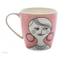 Kubek porcelanowy z buźką Pink Familjen