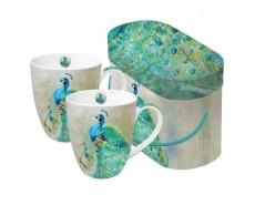 Kubki porcelanowe z pawiem