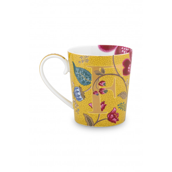 "Kubek porcelanowy Floral Fantasy Yellow ""F"""