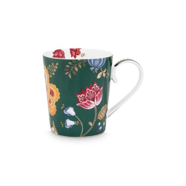 "Kubek porcelanowy Floral Fantasy Green ""H"""
