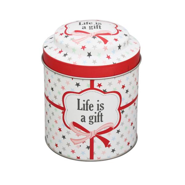 Puszka ozdobna z napisem Life is a gift