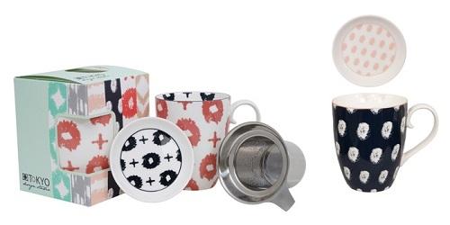 Kubki porcelanowe z zaparzaczem do herbaty